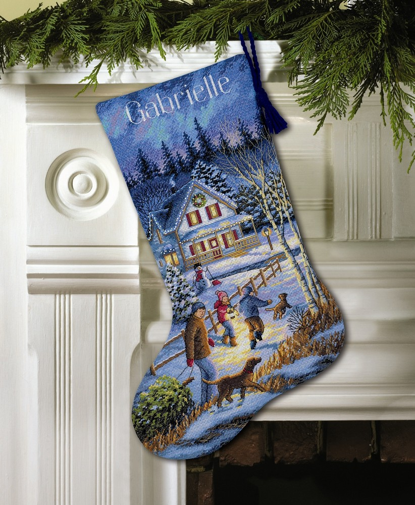 Christmas eve fun stocking cross stitch dimensions d08805 for Charles craft christmas stockings