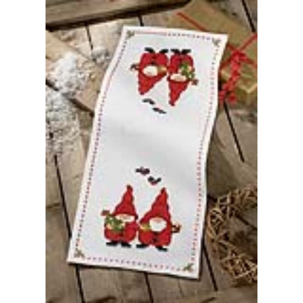 Table  (Permin, runner table 63 stitch Runner: Christmas stitch cross 9297) Cross Gnomes christmas