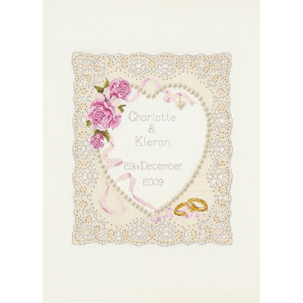 floral heart wedding sampler cross stitch anchor acs05