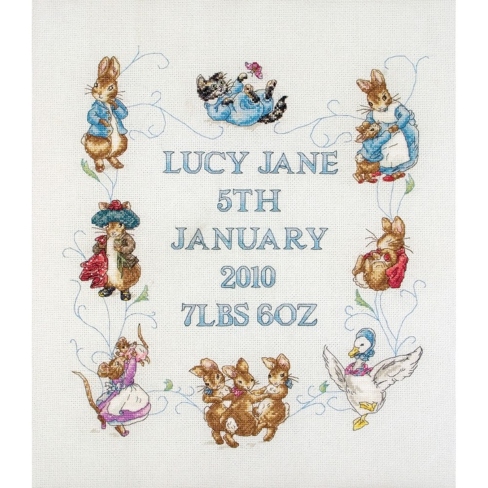Peter And Friends Birth Sampler Cross Stitch Anchor Jc218