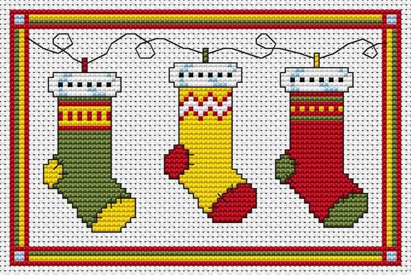 Christmas stockings cross stitch fat cat ch st for Charles craft christmas stockings