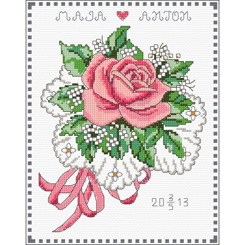 rose bouquet wedding sampler cross stitch anchor 9240000 03102