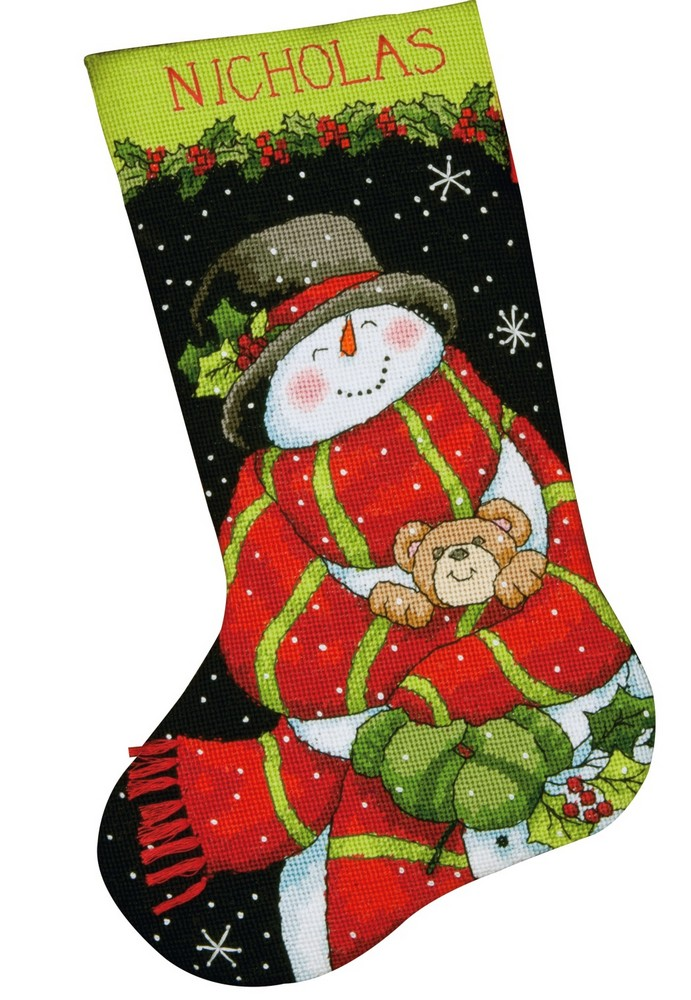 Snowman and bear stocking tapestry dimensions d71 09151 for Charles craft christmas stockings