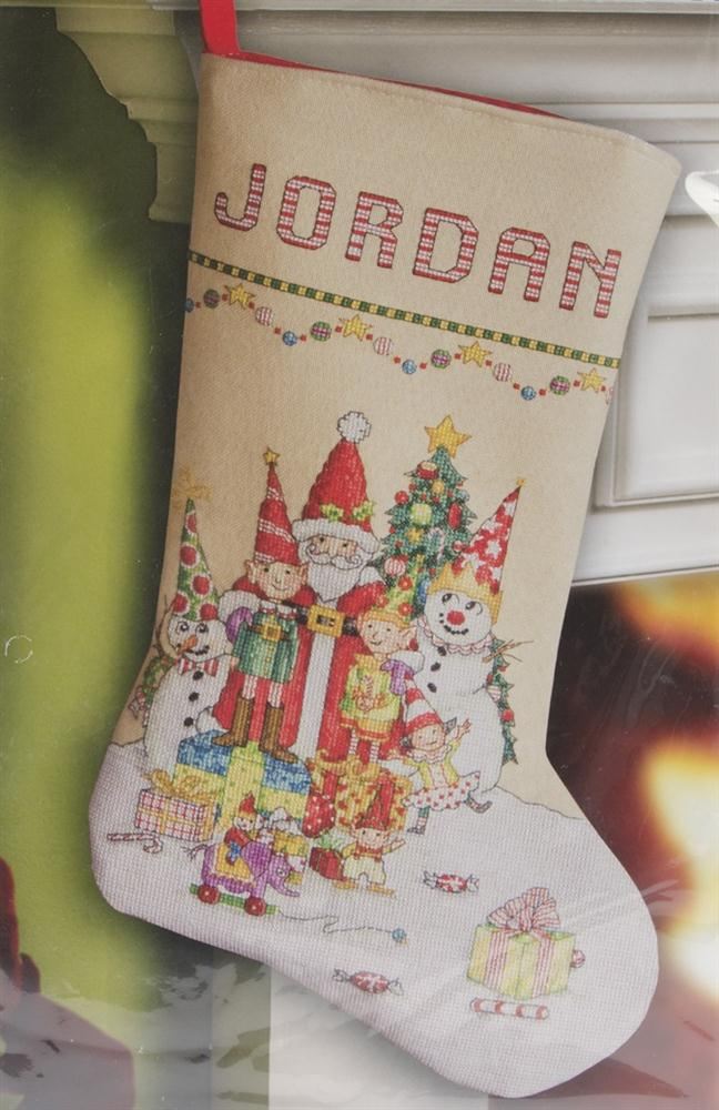 Santa and gang stocking cross stitch kit cross stitch for Charles craft christmas stockings