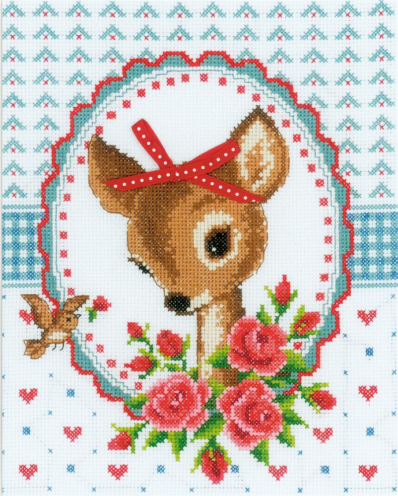 Deer and Roses Cross Stitch Kit: Cross stitch (Vervaco, PN-0150452)