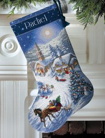 Sleigh Ride at Dusk Stocking: Cross stitch (Dimensions, D08712)