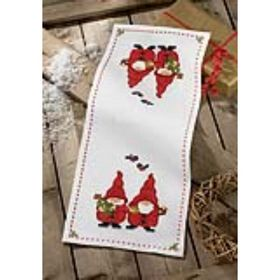 table Christmas Cross christmas Table 9297) Gnomes stitch Runner: (Permin, 63  stitch cross runner