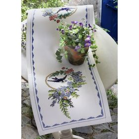 Bird and Blue Flowers Runner: Cross stitch (Anchor, 9240000-03103)