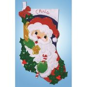 Holly Santa Stocking