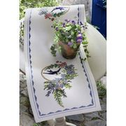 Bird and Blue Flowers Runner