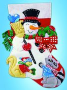 Snowman and Animals Felt Stocking