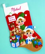 Elves Felt Stocking