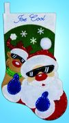 Santa and Reindeer Felt Stocking