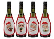 Santa Faces Wine Aprons