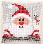Plaid Santa Cushion
