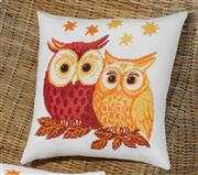 Owl Pair Cushion - Red