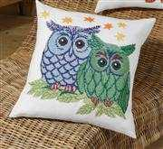 Owl Pair Cushion - Blue