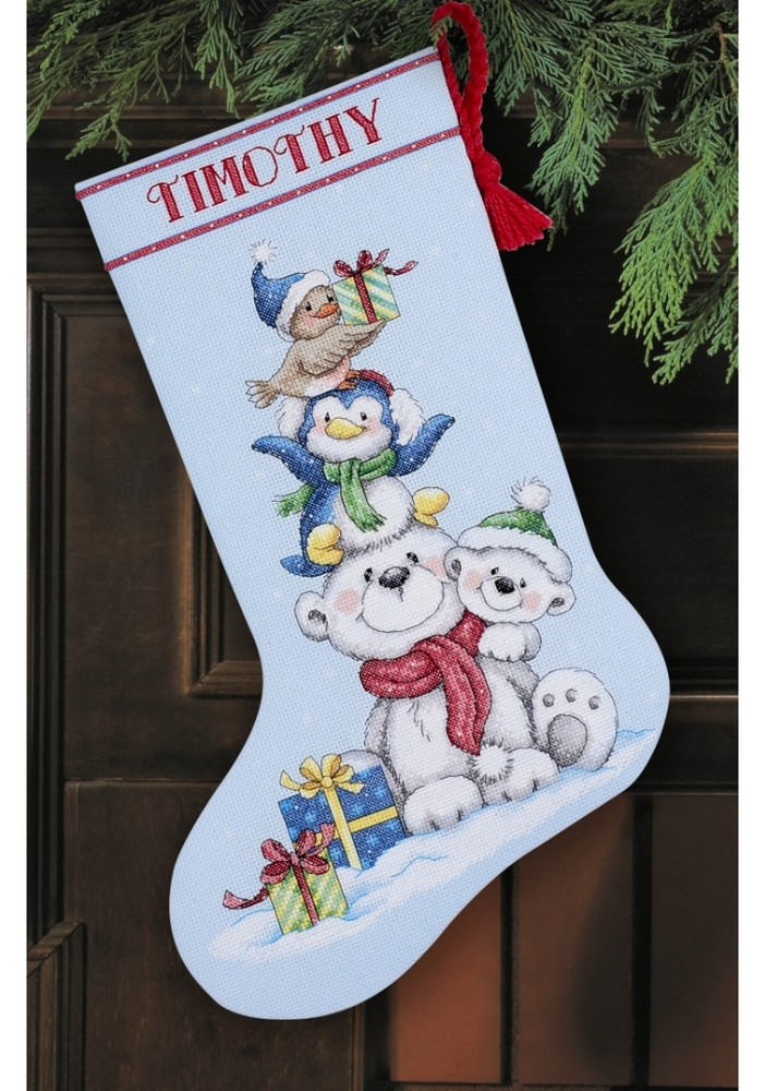 Stack of critters stocking cross stitch dimensions d70 for Charles craft christmas stockings