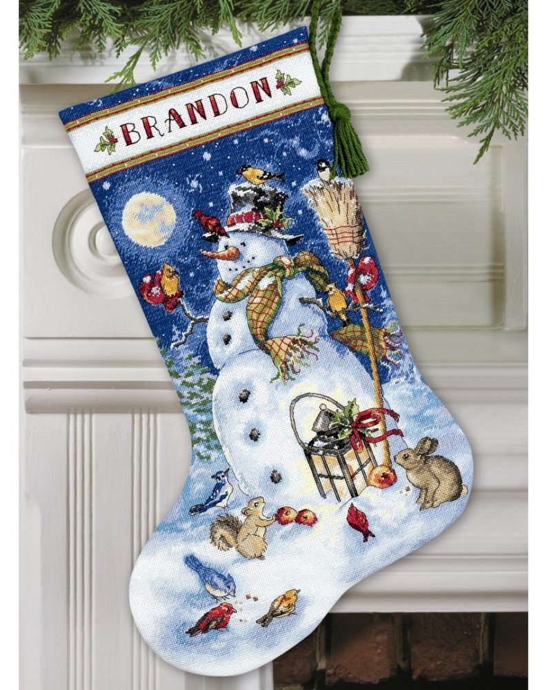 Snowman and friends stocking cross stitch dimensions for Charles craft christmas stockings