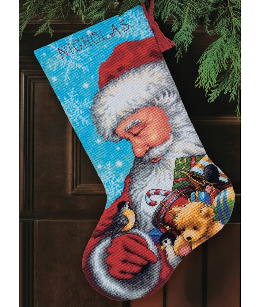 Santa and toys stocking tapestry dimensions d71 09145 for Charles craft christmas stockings