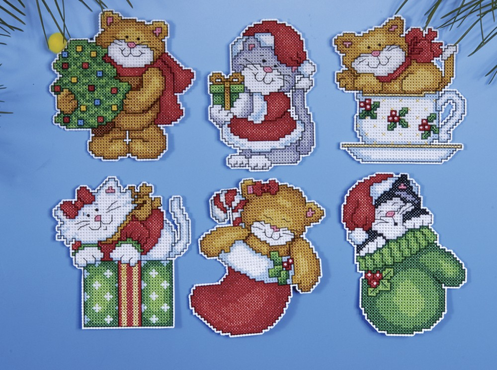 Kittens 2 Ornaments Design Works Crafts Christmas Cross