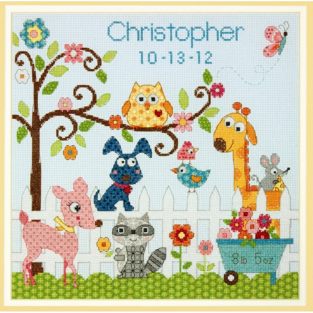 Happi Backyard Birth Record Dimensions Cross Stitch Kit