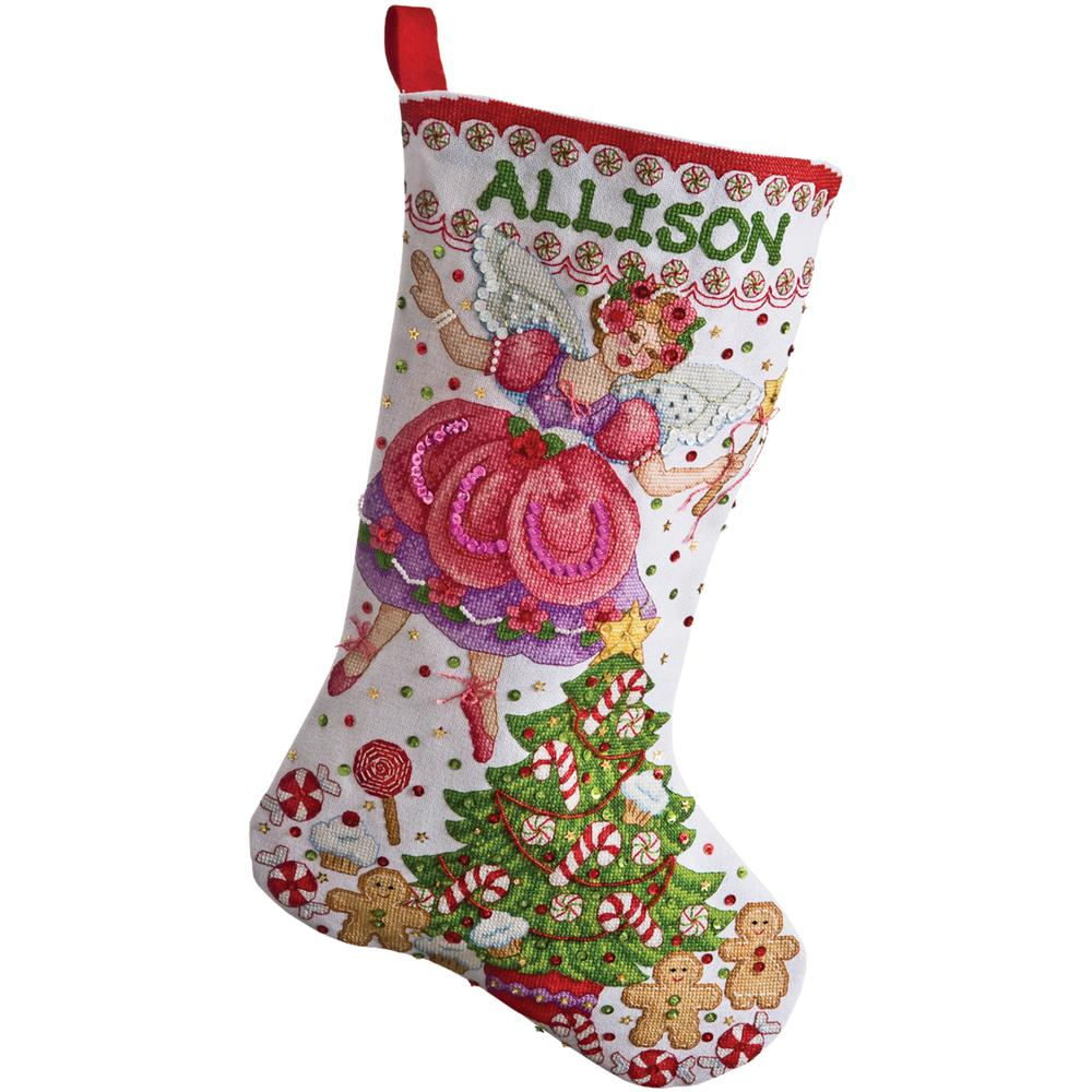 Quilted christmas stocking kits sugar plum fairy stocking for Charles craft christmas stockings