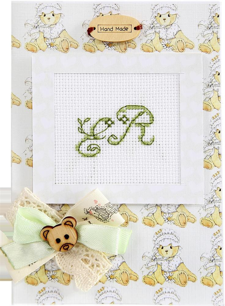 Monogram Bear Card - Green