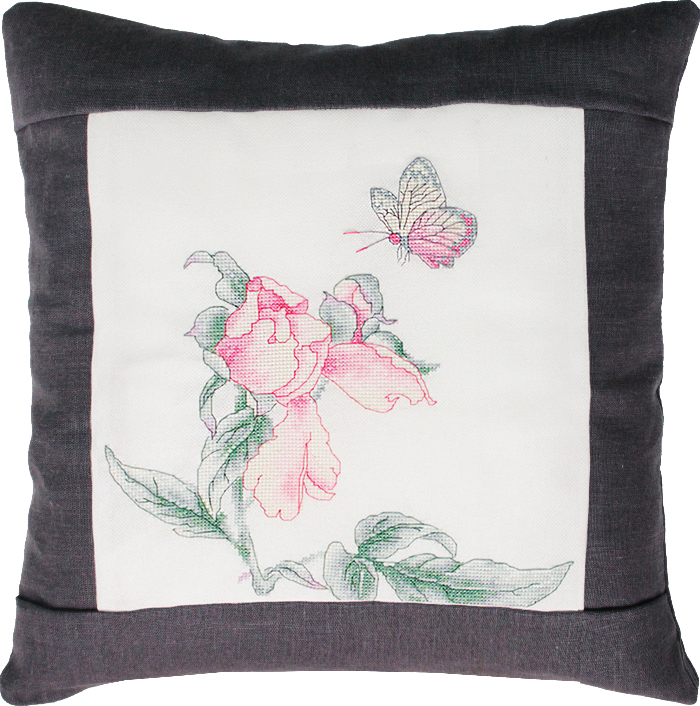 Rose and Butterfly Pillow - Grey
