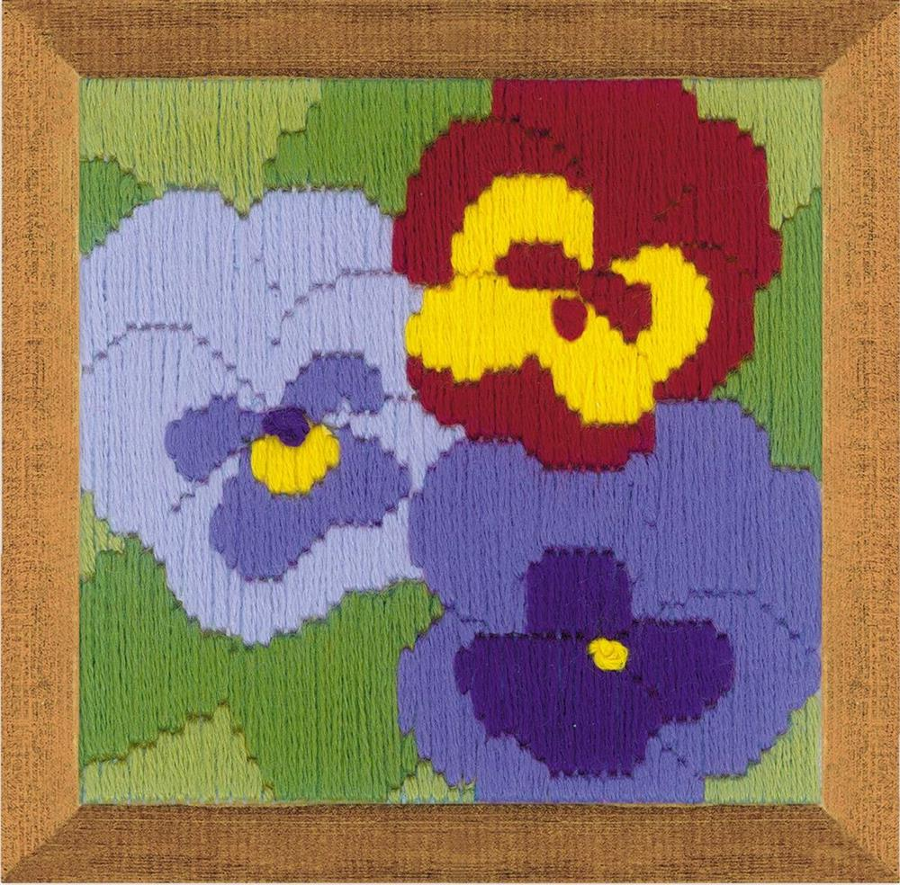 Three Pansies Longstitch