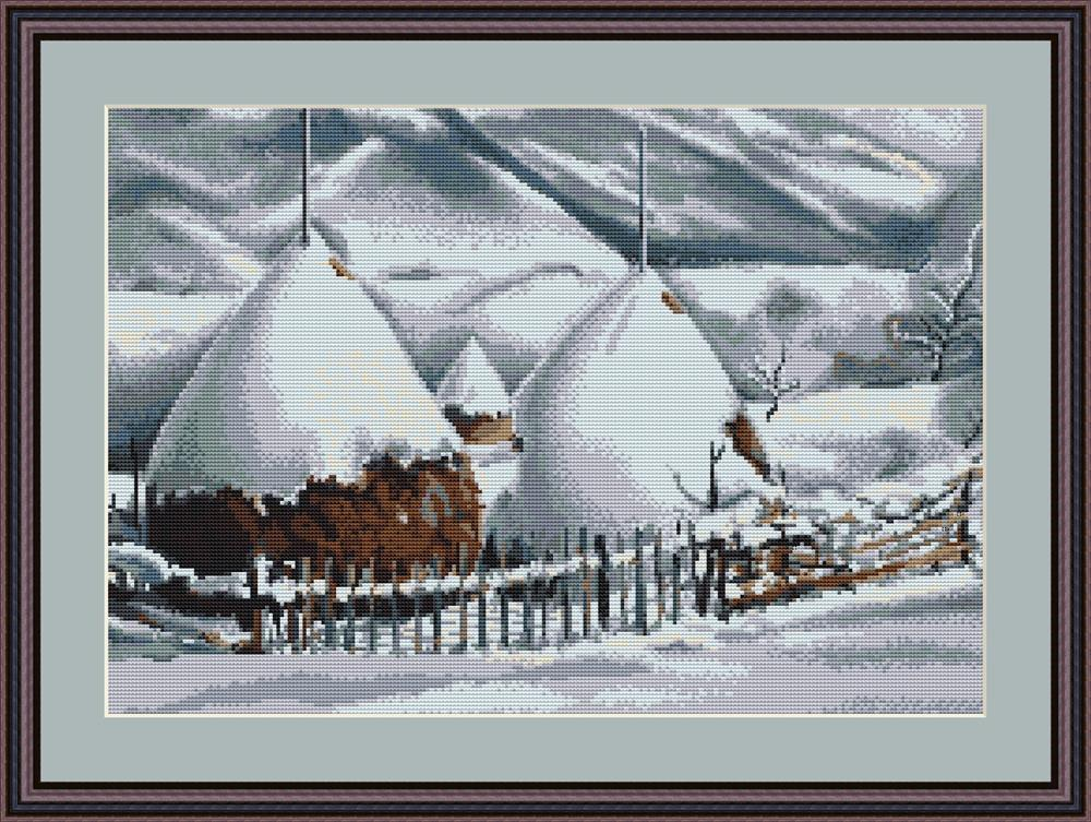 Snow Covered Stacks - Petit Point