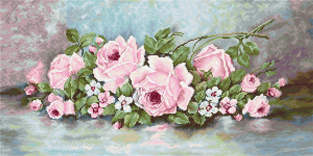 Pink Roses - Petit Point