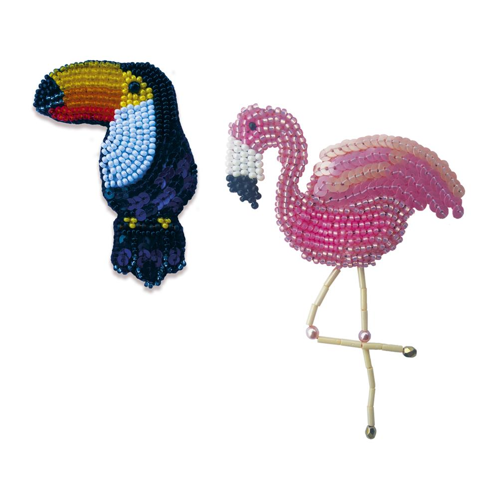 Toucan and Flamingo Brooches